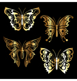 four golden butterfly vector image vector image