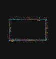 frame in a frame colored lights on black vector image vector image