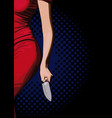 girl with a knife vector image vector image