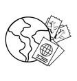 globe with passport vector image vector image