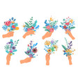 hands holding bouquets colorful floral bundle vector image