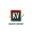 initial letter kv swoosh creative design logo vector image vector image