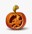 jack-o-lantern witch on broom vector image vector image