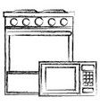 kitchen oven with microwave vector image