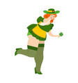 leprechaun girl with red hair find clover vector image vector image