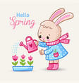 little rabbit watering flowers in boots in spring vector image vector image