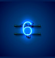 neon city font sign number 6 signboard six vector image vector image