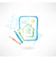 painted house grunge icon vector image