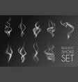realistic smoke transparent icon set vector image vector image