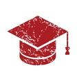 Red grunge graduate cap logo vector image