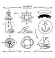 rope frames boats marine knots anchors nautical vector image vector image