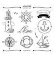 rope frames boats marine knots anchors nautical vector image