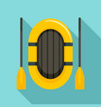 rubber boat and paddle icon flat style vector image vector image