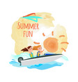 summer fun poster boating girls water adventure vector image vector image