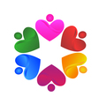 Teamwork voluntary hearts logo vector image vector image
