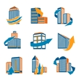 Urban Buildings Icons vector image vector image