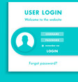 user login window login page design for website in vector image vector image