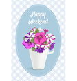 Vintage card romantic flowers in cup vector image vector image