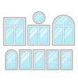 windows flat cartoon set isolated on white vector image vector image