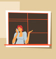 woman at home talking on phone female on self vector image