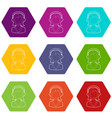 woman operator icons set 9 vector image vector image