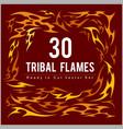 vinyl ready fire flames set vector image