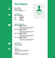 cv resume template in green color vector image