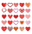 red hearts icons set vector image