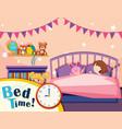 a girl sleeping in bedroom vector image