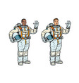 african and caucasian astronauts in spacesuits vector image
