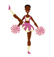 african girl cheerleader with pompoms in uniform vector image vector image