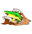 angry shark fish jumping out water ocean symbol vector image vector image