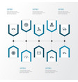Automobile outline icons set collection of rudder