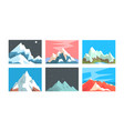 beautiful mountain landscapes collection peaceful vector image