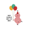 birthday card with cute pig vector image vector image