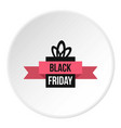 black friday gift box icon circle vector image
