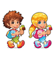 Boy and girl with ice cream vector image vector image