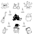 Castle and witch element halloween doodle vector image vector image