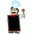 chef holding blackboard vector image vector image