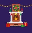 christmas fireplace decorated for christmas vector image vector image