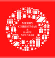 christmas greeting card with a round frame from vector image vector image