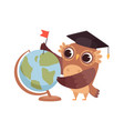 clever owl cartoon wild bird with globe and vector image