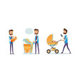 collection of father taking care of child isolated vector image