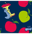 cute apple worm and red apple fun concept eco vector image