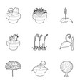 different plants icons set outline style vector image vector image