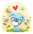 Dog with flowers vector image vector image