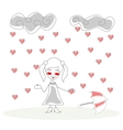 doodle girl with umbrella under rain of hearts vector image vector image