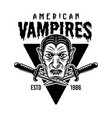 dracula head and two daggers vintage emblem vector image vector image