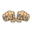 epic fail words tattoo font sketch vector image