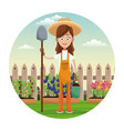 farmer girl straw hat shovel garden fence vector image